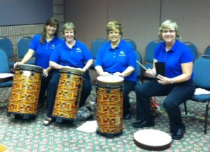 Drum Class, Gatlinburg, TN:  Sara Beth Creel, Susan Sadler, Barbara Wood, & Julee Martin (6/2011)