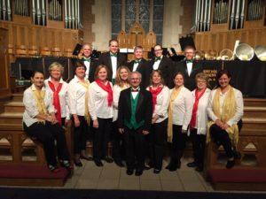 Christmas Concert, Trinity United Methodist Church:  (Front L-R) Claire Strand, Carol Kimball, Julie Anderson, Julee Martin, Lori Kegley, Shane Kennedy, Rhonda Gaede, Heather Batchelor, Barbara Wood, Beth Dortch, (Rear) Fred Baier, Ron Jones, Chad Rutherford, Caroline Higgins, Lucas Pruitt (12/4/2017)