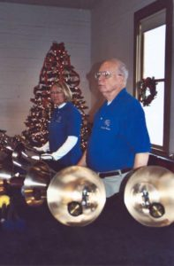 Candlelight Christmas, Burritt on the Mountain:  Carol and Jim on the bass bells (12/2/2006)