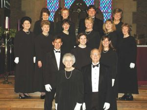 Spring Concert, Trinity United Methodist Church:  (Front L-R) Becky Rogers, Dr. Jim Rogers, (Row 2) Dr. Dan Lawhon, Kelly Youmans, Beth Creel, (Row 3) Janet Dees, Barbara Wood, Jane Orton, Carol Kimball, Lori Kegley, Susan Sadler, (Rear) Coral McRae, Amy Cherry, Bob Youmans, Dottie Robinson (5/7/2001)