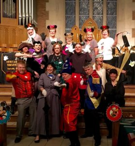 Disney Concert, Trinity United Methodist Church:  (Front L-R) Iron Man, Mary Poppins, Fantasia Mickey, Prince Charming, Chimney Sweep, (Row 2) Captain Jackie Sparrow, Maleficent, Ghost Host, Mickey, Pocohontas, (Rear) Grumpy, Minnie, Minnie, Minnie, Minnie (5/2/2016)